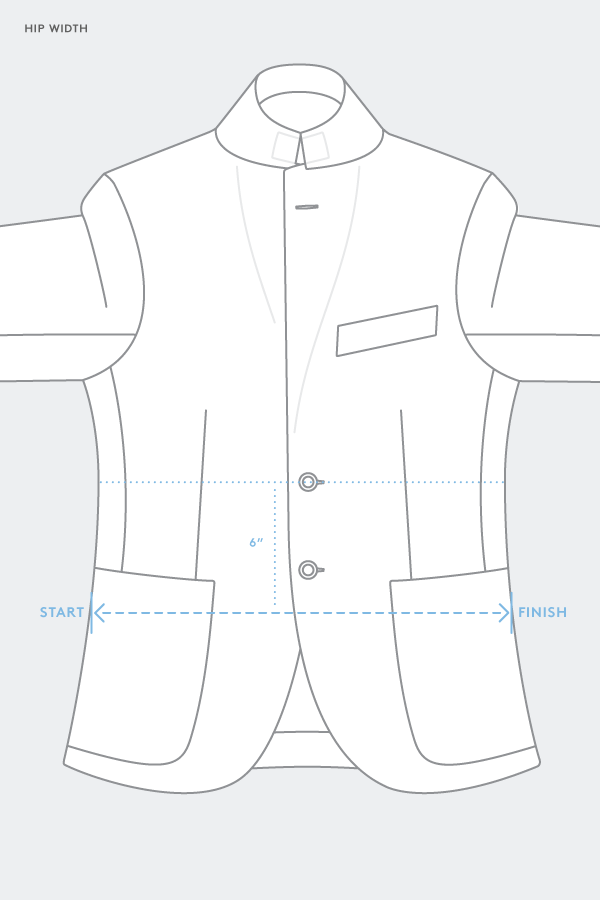 suit jacket hip width measurement