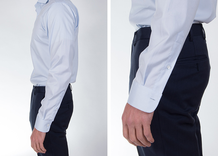 Shirt sleeves and cuffs fitting properly