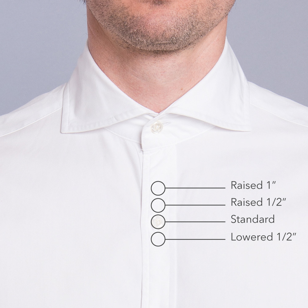 Top button placement proper cloth reference for 3 button shirt collar