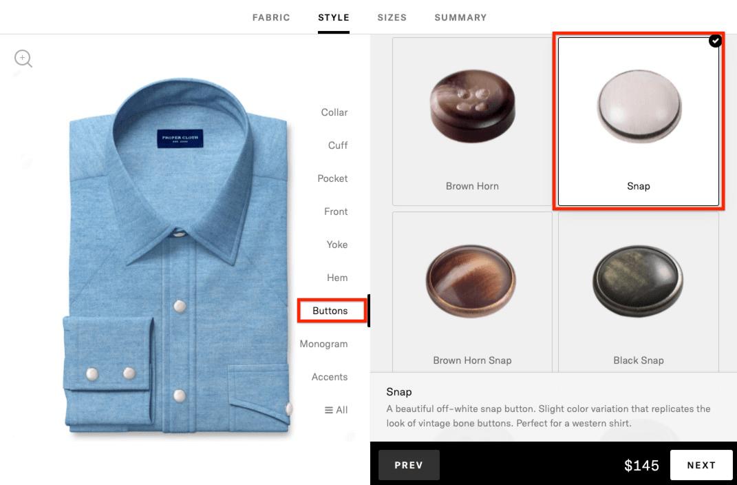 western shirt - add snap buttons
