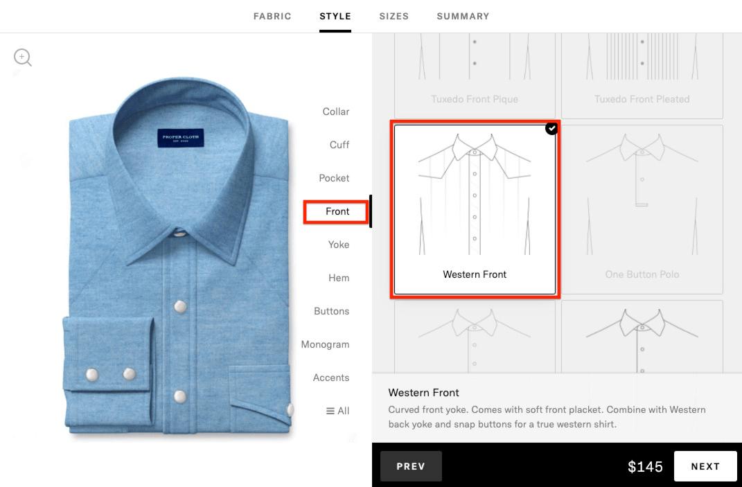 western shirt - add western front option