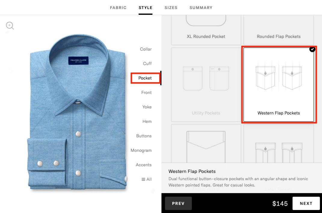 western shirt - add western pocket option