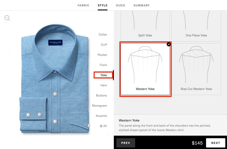 western shirt - add western yoke option