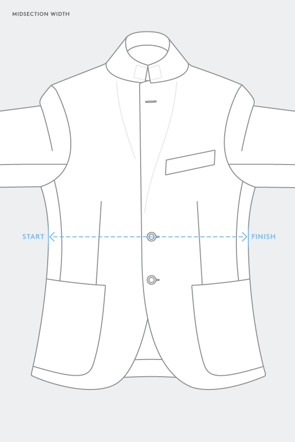 suit jacket midsection waist measurement