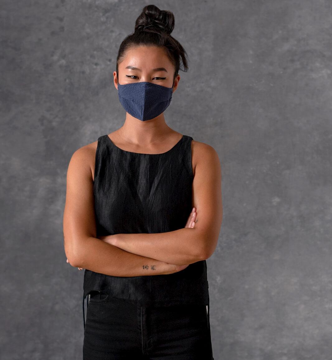 model wearing size small mask