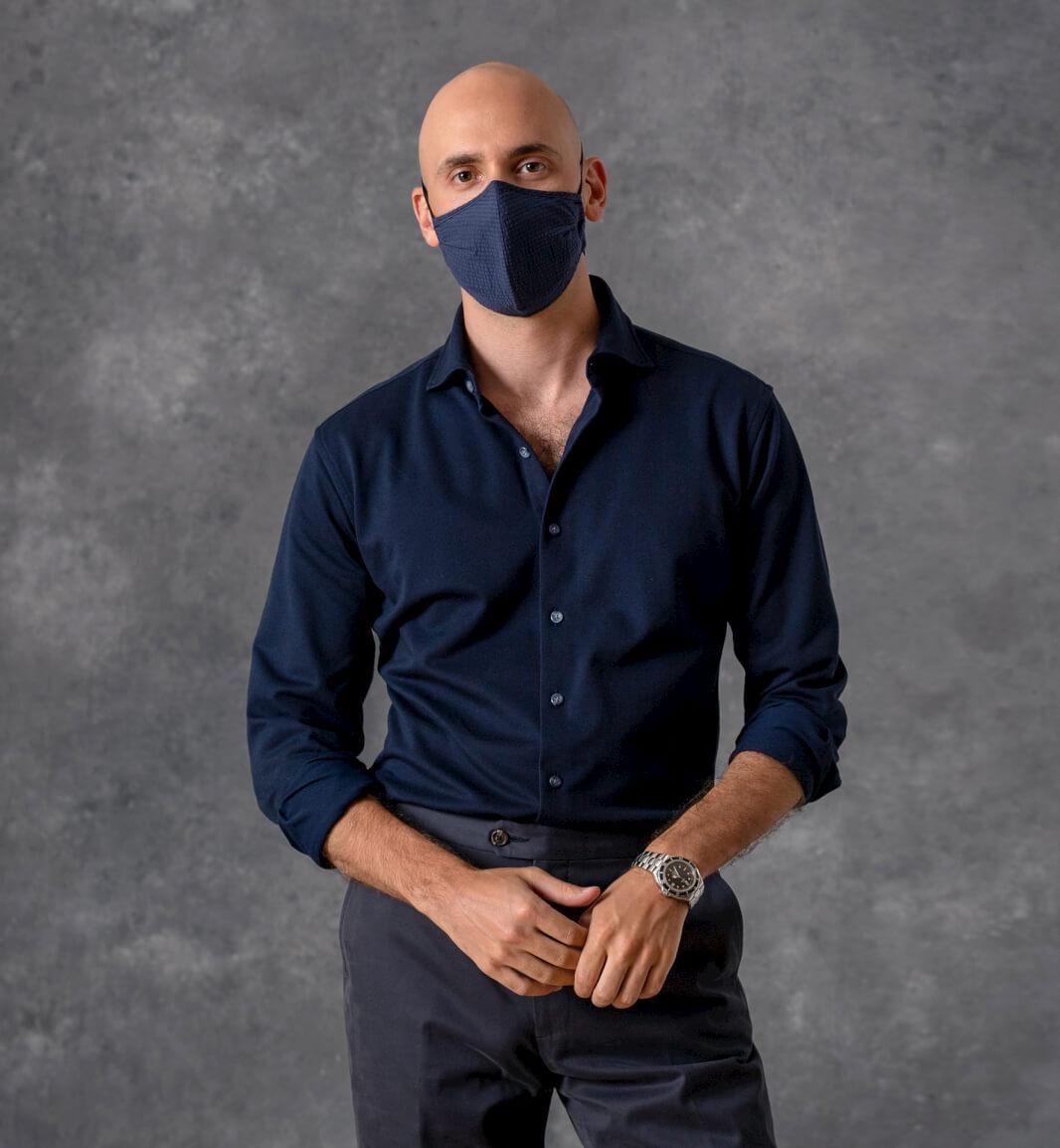model wearing size large mask